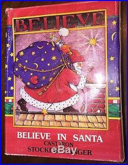 FOUR Mary Engelbreit Cast Iron Christmas Stocking Hangar lot BELIEVE IN SANTA ++