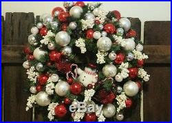 FROSTY snowman Christmas ornament glass balls door wreath red white 22 vtg