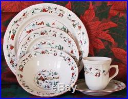 Farberware WHITE CHRISTMAS Dinner Service for 8 Plate Set KATHERINE BABANOVSKY
