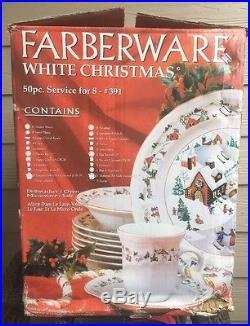 Farberware White Christmas 50 Pc Service For 8 Model 391 Dinner Holiday New