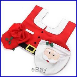 Father Christmas Xmas Santa Toilet Seat Cover Rug Bathroom Mat Set Decorations