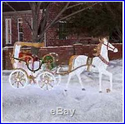 Festive Horse Carriage LED Pre-lit Outdoor Yard Holiday Christmas Decoration
