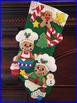 Finished Design Works Felt Christmas Stocking Gingerbread Bakers Bucilla
