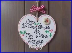 First 1st Christmas as Mr & Mrs Personalised Husband Wife Heart Tree Decoration