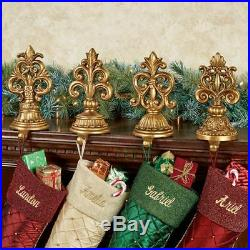 Fleur de Lis Stocking Holders Antique Gold Set of Four