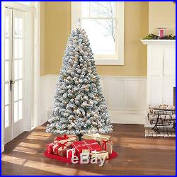Flocked Christmas Tree 6.5 Ft Pre Lit Artificial White Holiday Snow Clear Lights