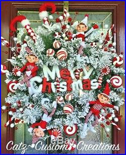 Flocked Elf Legs Wreath Xmas Decor Candy Cane Peppermint Arrangement Sign Picks