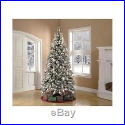 Flocked Pre-Lit 7.5′ Snowy White Christmas Tree Clear Lights Holiday Decor