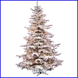 Flocked Sierra 10′ White Fir Artificial Christmas Tree with 1450 Clear Lights