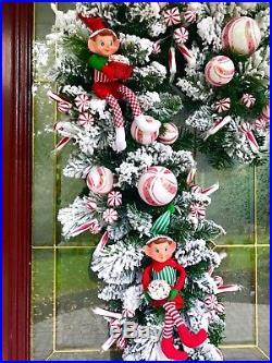 Flocked Wreath Xmas Decor Candy Cane Elf Peppermint Ribbon Bow Arrangement New