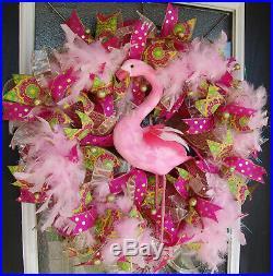 Florida Flamingo Deco Mesh Front Door Wreath Spring Summer Home Decor Decoration
