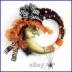 Frightfully Sophisticated Witch Moon Festive Halloween Wreath withDangling Spider
