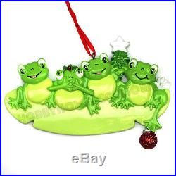 Frog Family of 4 Personalized Christmas Tree Ornament Holiday Gift 2015