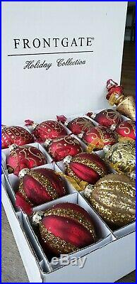 Frontgate 20 Red & Gold Glass Christmas Tree Ornaments Holiday Collection NEW