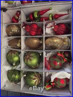 Frontgate Christmas Ornaments Set Of 54 Traditional Red/Green/gold- Set A