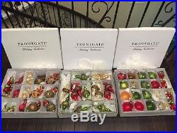 Frontgate Christmas Ornaments Set Of 55 Traditional Red/Green/gold- Set B