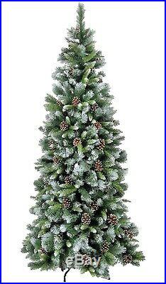Frosted Glacier Hook on with Cones Artificial Christmas Tree Various Sizes