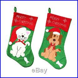 Fun Cat / Dog Christmas Xmas Felt Gift Stocking for Pets'Merry Christmas