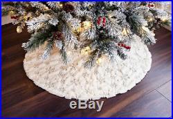Fur Sequin Snowflake Christmas Tree Skirt Festive Home Xmas Snowflake Decor