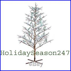 GE 8Ft LED Cool White Pre-Lit Brown Branch Tree Holiday Christmas Yard Display
