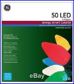 GE Energy Smart Christmas Lights Colorite 50 Light LED Color Holiday Decor Xmas