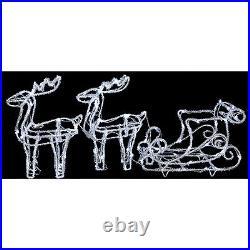 GG316 Double Reindeer & Sleigh, Acrylic, 63Cm, Xmas Decorations & Gifts