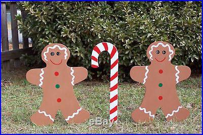 GINGERBREAD SET CHRISTMAS YARD ART DECORATION 3pc