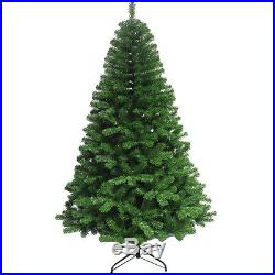 GREEN CHRISTMAS PINE BUSHY TREES ARTIFICIAL 7FT INDOOR With METAL STAND XMAS GIFT