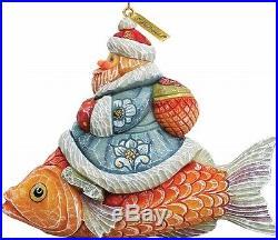 G. Debrekht 63126 General Holiday Santa On Fish Ornament 4 in