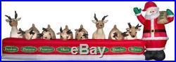 Gemmy 6′ Airblown Santa Feeding Eight Reindeer Christmas Inflatable
