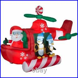 Gemmy 9 Ft Airblown Inflatable Animated Helicopter with Santa & Penguins CC