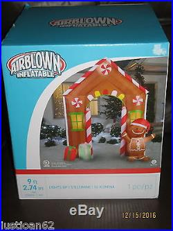Gemmy 9ft Christmas Airblown Inflatable Gingerbread House Arch Archway NIB
