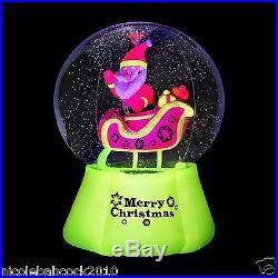 Gemmy AIRBLOWN NEON Santa & Sleigh Snow Globe With BLACK LIGHTChristma Inflatable