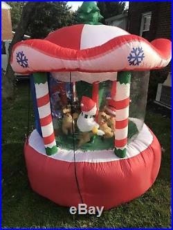 Gemmy Airblown Inflatable Animated Carousel Christmas 7 Feet Tall