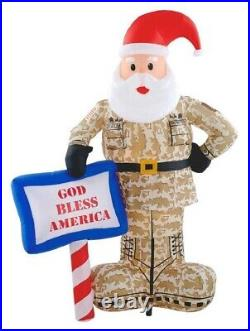 Gemmy Airblown Inflatables 7FT Military Santa with God Bless America Sign