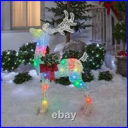 Gemmy AppLights LED Lightshow 4 ft Lighted Crystal Swirl Buck Yard Sculpture NIB