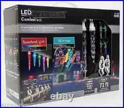 Gemmy LED Lightshow Combo Pack Synchro Icicles & Glimmer Mini Light NIB