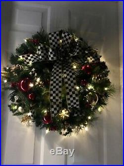 Genuine MacKenzie Child Ribbon 23 Christmas Wreath, Cordless Light withTimer