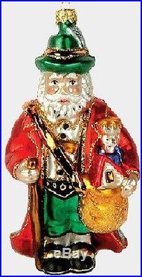 German Germany Santa Polish Glass Christmas Ornament Made in Poland