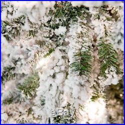Gerson Company Flocked Alpine Pre-lit Christmas Tree, White, 5 ft