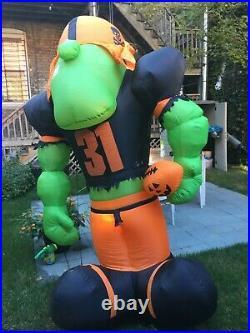 Giant Airblown Football Player Inflatable Pumpkin Hollow Gemmy Halloween Decor