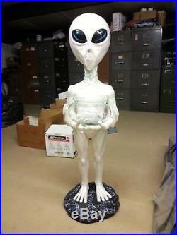 Gift, 36 Tall Fiberglass Alien Statue Holding Candy Dish