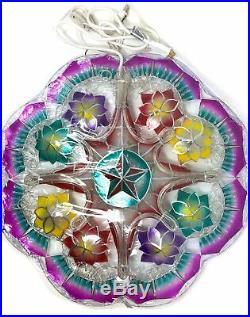 Gift Ko Tala Poinsettia Capiz Parol 24 inch BLUE Rope Christmas Lantern LED