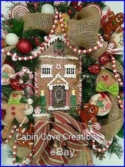 Gingerbread Christmas Wreath Gingerbread House Burlap Holiday Winter ADORABLE