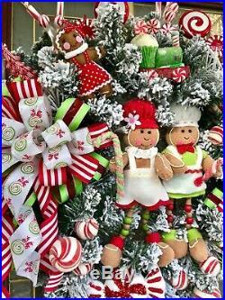 Gingerbread Flocked Wreath Xmas Decor Candy Cane Peppermint Picks Arrangement