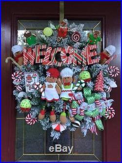 Gingerbread Wreath Xmas Decor Candy Cane Cupcake Sign Ribbon Bow Flocked Tree