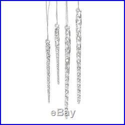 Glass Icicle Set Stylish Decor Clear Ornaments Christmas Winter 24pcs 3.5-5.5