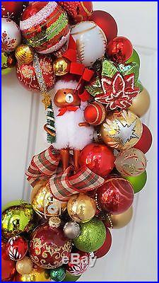 Glass Ornament 24 Christmas Holiday Wreath Traditional Red