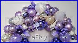 Glass Ornament 24 Easter Holiday Christmas Wreath Purple Lilac White Silver