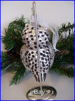 Glass Owl Glitter Christmas Tree Ornaments Silver & Black set of 3 NEW